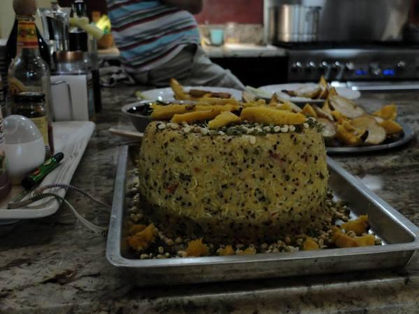 torta di riso e germogli